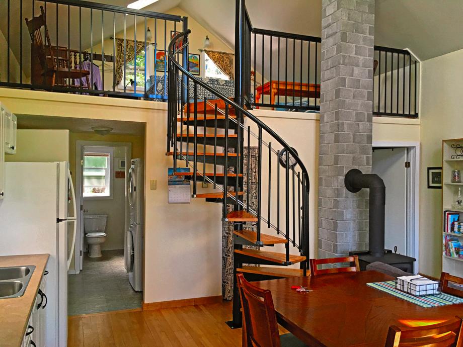 Beach house spiral stairs